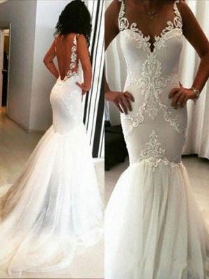 Stunning Sleeveless Chapel Train Tulle Spaghetti Straps Applique Sexy Mermaid Wedding Dresses_1