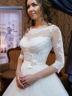 Elegant Floor-Length Scoop Puffy 1/2 Sleeves Tulle Applique Wedding Dresses_4