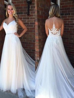 Glamorous Applique Court Train Sleeveless Tulle Scoop Wedding Dresses_1