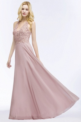 A-line  Appliques V-neck Sleeveless Floor-Length Bridesmaid Dresses with Pearls_4