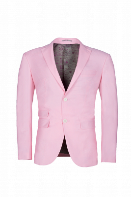 Peak Lapel Candy Pink Single Breasted Wedding Suit For Men_1