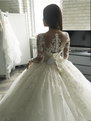 Elegant Applique Court Train Puffy Scoop Tulle Long Sleeves Wedding Dresses_3