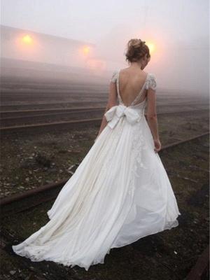 V-neck Floor-Length Sleeveless Lace Chiffon  Wedding Dresses_3
