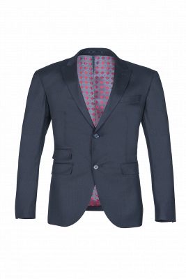 Breasted Black Peak Lapel Two Button Single Slim Fit Classic Suit_1