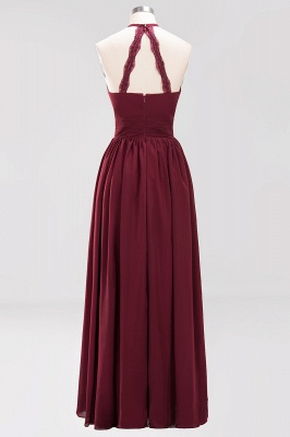 Simple A-Line Chiffon Bridesmaid Dresses | Halter Ruched Hollow Back Maid of The Honor Dresses_8