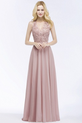 A-line  Appliques V-neck Sleeveless Floor-Length Bridesmaid Dresses with Pearls_1