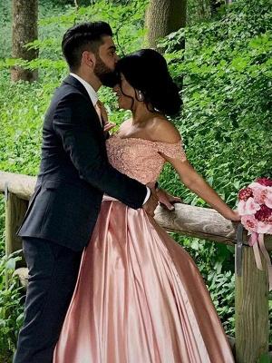 Sleek Satin Cathedral Train Sleeveless Ruffles Off-the-Shoulder Puffy Wedding Dresses_5