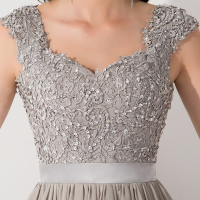 A-line  V-Neck Sleeveless Ruffles Floor-Length Bridesmaid Dress with Appliques_5