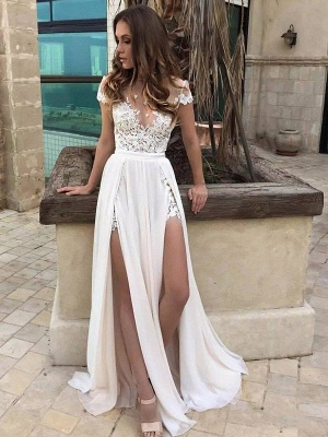 Lace Chiffon Floor-Length Wedding Dresses | Stunning Sleeveless V-neck Bridal Gowns_1