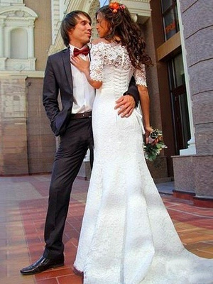 1/2 Sleeves Sweep Train Off-the-Shoulder Lace Sexy Mermaid Wedding Dresses_4