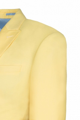 Noched Lapel Two Button Single Breasted Daffodil Wedding Suit Slim Fit_5