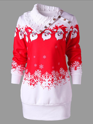 Santa Claus Printed Plus Size Tunic Sweatshirt Dress_1
