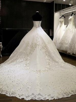 Sweetheart Sleeveless Cathedral Train Tulle Puffy Rhinestone Wedding Dresses_3
