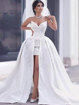 Sleeveless Chapel Train Sweetheart Beaded Satin Puffy Wedding Dresses_4