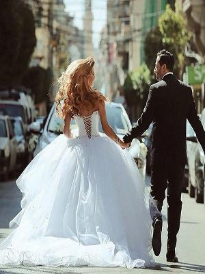 Court Train Beaded Tulle Puffy Sweetheart Stunning Wedding Dresses_3