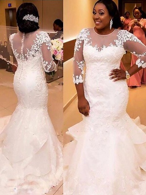 Breathtaking Lace Sexy Mermaid Applique Court Train Tulle 3/4 Sleeves Wedding Dresses_3