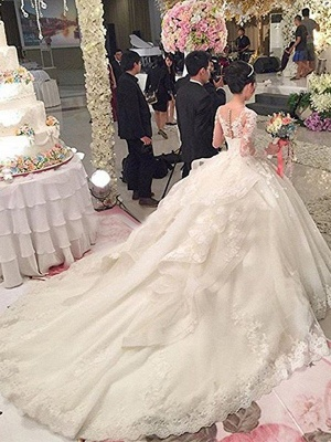 Tulle Scoop Applique Long Sleeves Puffy Cathedral Train Lace Wedding Dresses_3