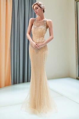 Mermaid  Sleeveless Beading Gold Floor Length Prom Dress | 2019 Evening Dresses_1