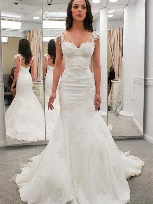 Chapel Train Sweetheart Sexy Mermaid Short Sleeves Applique Lace Wedding Dresses_1