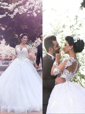 Long Sleeves Sweetheart Tulle Puffy Court Train Wedding Dresses_3