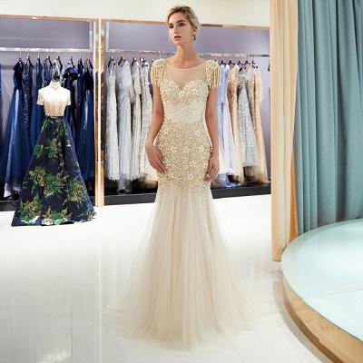 Mermaid Crew Neck Beaded Prom Dress With Tassels | Evening Dress 2019_1