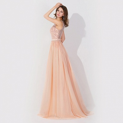 Cheap A-line Chiffon Tulle Lace Ruffles Bridesmaid Dress in Stock_3