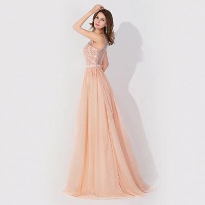 A-Line  Lace Jewel Sleeveless Floor-Length Bridesmaid Dress with Ruffles_4