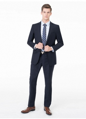 Peak Lapel Two Pieces with Pants Two Button Comfortable Casual Suits_8