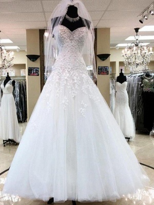 Charming Floor-Length Puffy Sweetheart Sleeveless Tulle Applique Wedding Dresses_1