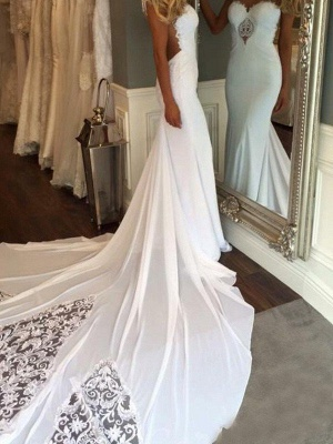 Cathedral Train Sexy Mermaid Lace Wedding Dresses | Sweetheart Applique Sleeveless Bridal Gowns_3