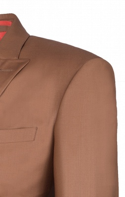 Brown Peak Lapel Customize Double Breasted Groomsmen Popular Wedding Suit_5