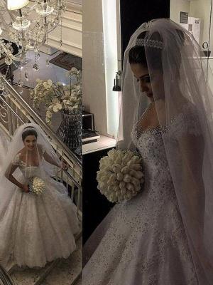 Floor-Length Tulle Beaded Puffy Sleeveless V-neck Wedding Dresses_4