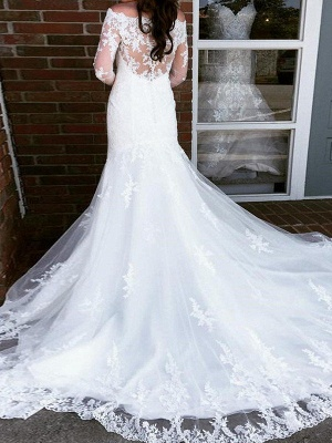 Charming Applique Tulle Long Sleeves Off-the-Shoulder Train Sexy Mermaid Wedding Dresses_3