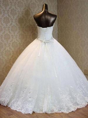 Floor-Length Sweetheart Beads Sleeveless Tulle Puffy Wedding Dresses_3