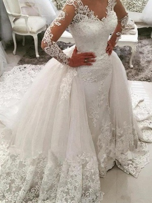Dazzling Long Sleeves Cathedral Train V-neck Puffy Applique Lace Tulle Wedding Dresses_1