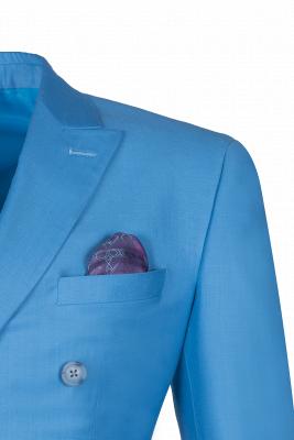 Ocean Blue Casual Suit Customize Groomsmen Peak Lapel Double Breasted_4