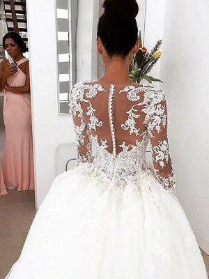 Breathtaking Scoop Lace Puffy Court Train Long Sleeves Wedding Dresses_4