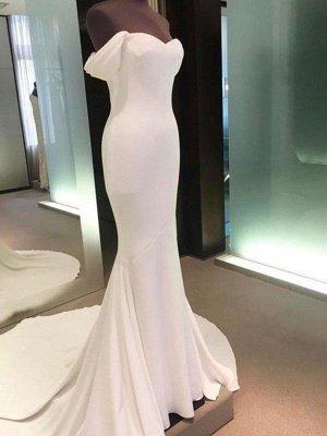 Short Sleeves Satin Sheath Wedding Dresses | Column Court Train Off-the-Shoulder Bridal Gowns_4