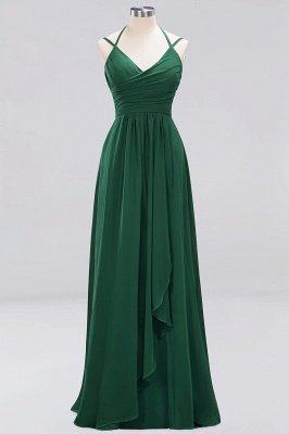 A-line  Spaghetti Straps Sleeveless Ruffles Floor-Length Bridesmaid Dresses_18