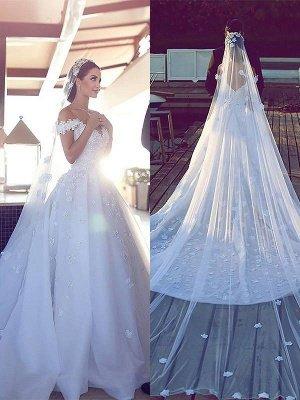 Dramatic Chiffon V-neck Chapel Train Puffy Sleeveless Satin Wedding Dresses_1