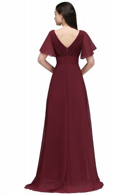 Simple A-Line  V-Neck Short-Sleeves Ruffles Floor-Length Bridesmaid Dresses_2