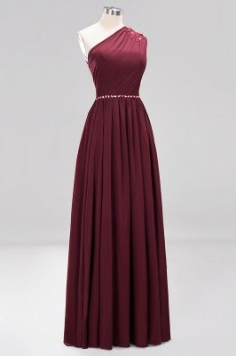Fashion A-Line One-Shoulder Bridesmaid Dresses | Chiffon Sleeveless Beaded Wedding Party Dresses_16