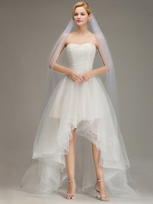 One Layer Wedding Veil with Comb  Appliqued Cathedral Length Bridal Veil_2