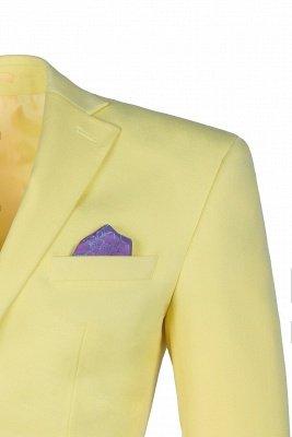 High Quality Peak Lapel Groomsmen Slim Fit Daffodil Single Breasted_5