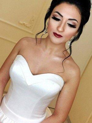 Sleek Cathedral Train Ribbon Sweetheart Puffy Sleeveless Satin Wedding Dresses_4