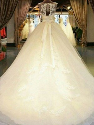 Cathedral Train Sleeveless Ribbon Scoop Applique Tulle Puffy Wedding Dresses_3