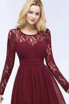 Elegant A-Line  Jewel Long Sleeves Ruffles Floor-Length Bridesmaid Dresses_6
