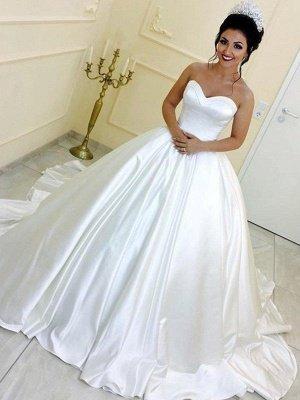 Sleek Cathedral Train Ribbon Sweetheart Puffy Sleeveless Satin Wedding Dresses_1
