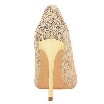 Fashion Pionted Toe High Heel Lace Wedding Shoes_6