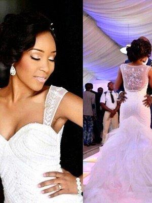 Gorgeous Sleeveless Sweetheart Court Train Tulle Sexy Mermaid Beaded Wedding Dresses_3